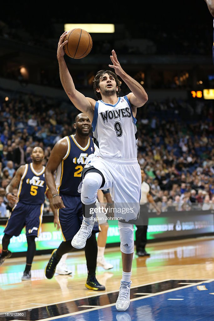 Ricky Rubio #9 of the Minnesota Timberwolves drives to the basket against the Utah Jazz on April 15, 2013 at Target Center in Minneapolis, Minnesota.
