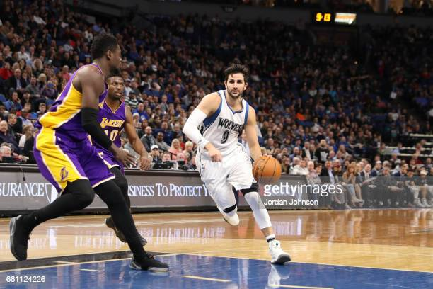 Ricky Rubio of the Minnesota Timberwolves drives to the basket against the Los Angeles Lakers on March 30 2017 at Target Center in Minneapolis...
