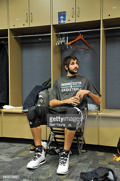 Ricky Rubio of the Minnesota Timberwolves gets ready before the game against the Denver Nuggets on November 15 2013 at the Pepsi Center in Denver...
