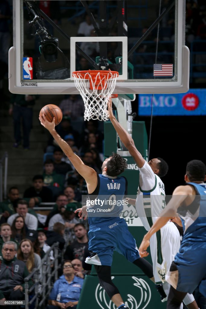 Ricky Rubio #9 of the Minnesota Timberwolves goes to the basket against the Milwaukee Bucks on March 11, 2017 at the BMO Harris Bradley Center in Milwaukee, Wisconsin.