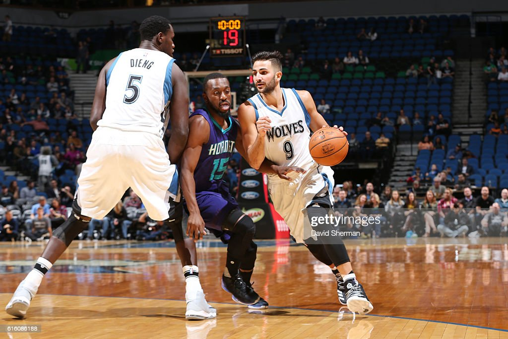 Ricky Rubio #9 of the Minnesota Timberwolves handles the ball during a preseason game against the Charlotte Hornets on October 21, 2016 at the Target Center in Minneapolis, Minnesota.