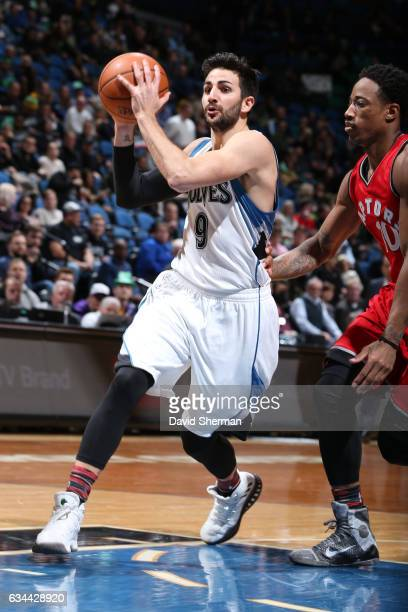 Ricky Rubio of the Minnesota Timberwolves handles the ball during a game against the Toronto Raptors on February 8 2017 at Target Center in...