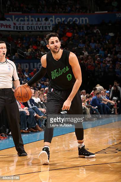 Ricky Rubio of the Minnesota Timberwolves handles the ball during the game against the Oklahoma City Thunder on December 25 2016 at Chesapeake Energy...