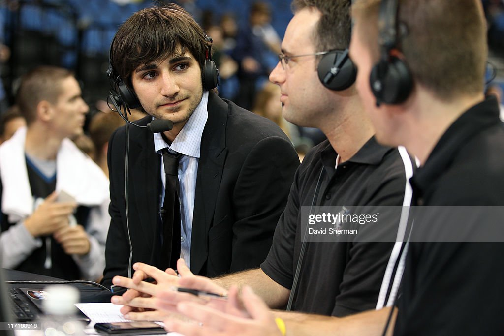 Ricky Rubio of the Minnesota Timberwolves, Johan Ballow and John Folke from Timberwolves.com prepare for an interview at the team's 2011 NBA Draft Party at Target Center on June 23, 2011 in Minneapolis, Minnesota.