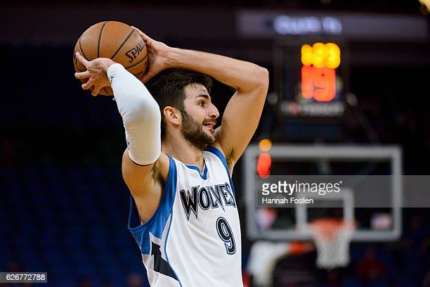 Ricky Rubio of the Minnesota Timberwolves looks to pass the ball against the Charlotte Hornets during the game on November 15 2016 at Target Center...