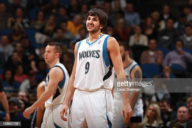 Ricky Rubio of the Minnesota Timberwolves reacts after a play against the Oklahoma City Thunder during the game on December 20 2012 at Target Center...