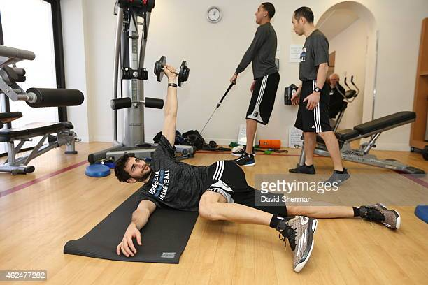 Ricky Rubio of the Minnesota Timberwolves workout at the hotel exercise room prior to the game against the Oklahoma City Thunder on January 26 2015...