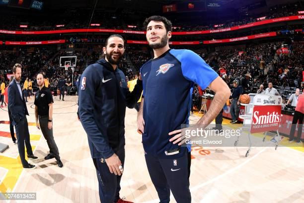 Ricky Rubio of the Utah Jazz and Alex Abrines of the Oklahoma City Thunder talk before the game on December 22, 2018 at vivint.SmartHome Arena in...