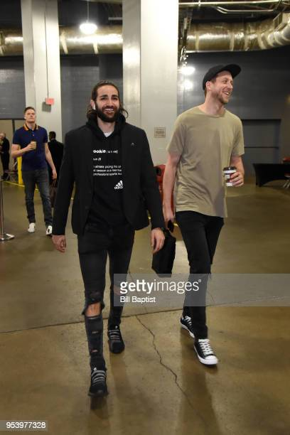 Ricky Rubio of the Utah Jazz and Joe Ingles of the Utah Jazz arrive at the stadium before the game against the Houston Rockets in Game Two of Round...