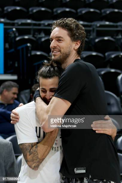 Ricky Rubio of the Utah Jazz and Pau Gasol of the San Antonio Spurs talk before the game on February 12 2018 at vivintSmartHome Arena in Salt Lake...