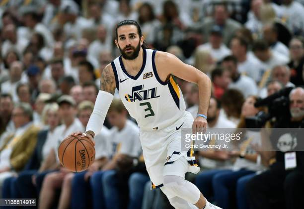 Ricky Rubio of the Utah Jazz brings the ball up court against the Houston Rockets in the first half of Game Four during the first round of the 2019...