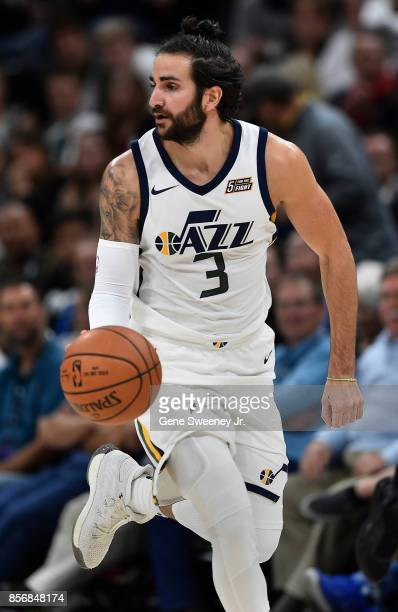 Ricky Rubio of the Utah Jazz brings the ball up court against the Sydney Kings in the first half of their preseason game at Vivint Smart Home Arena...