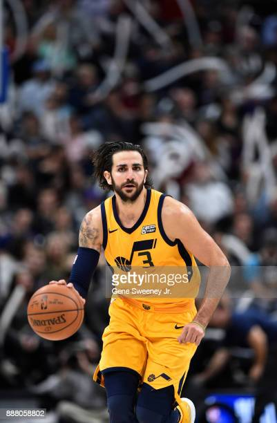 Ricky Rubio of the Utah Jazz brings the ball up court against the Houston Rockets in the second half of the 112101 win by the Rockets at Vivint Smart...