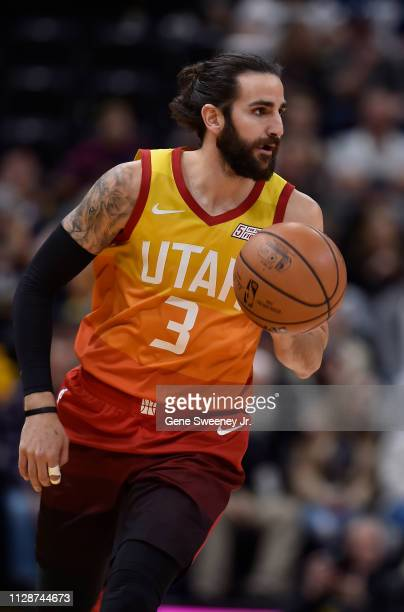 Ricky Rubio of the Utah Jazz brings the ball up court against the San Antonio Spurs in a NBA game at Vivint Smart Home Arena on February 09 2019 in...