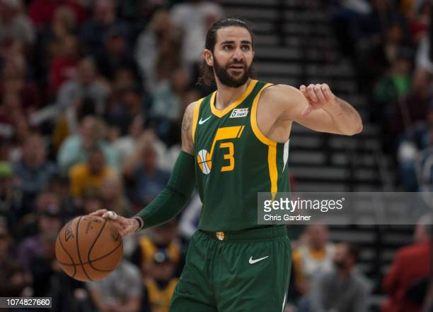 Ricky Rubio of the Utah Jazz calls a play as he brings the ball up the court against the Portland Trail Blazers during their game at the Vivint Smart...
