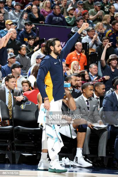 Ricky Rubio of the Utah Jazz celebrates from the bench during the game against the Washington Wizards on December 4 2017 at Vivint Smart Home Arena...