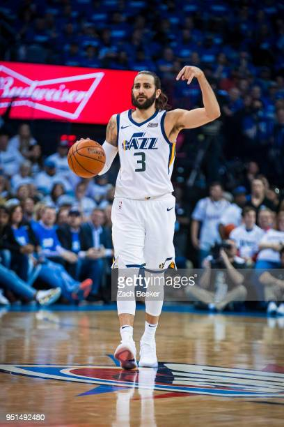 Ricky Rubio of the Utah Jazz dribbles the ball and calls a play in Game Five against the Oklahoma City Thunder during Round One of the 2018 NBA...