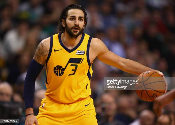Ricky Rubio of the Utah Jazz dribbles up the court during the second half of the game against the Boston Celtics at TD Garden on December 15 2017 in...
