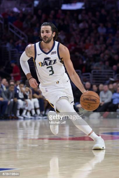 Ricky Rubio of the Utah Jazz drives to the basket against the Philadelphia 76ers at the Wells Fargo Center on November 20 2017 in Philadelphia...