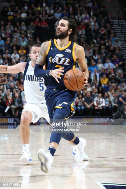 Ricky Rubio of the Utah Jazz drives to the basket against the Dallas Mavericks on October 30 2017 at Vivint Smart Home Arena in Salt Lake City Utah...