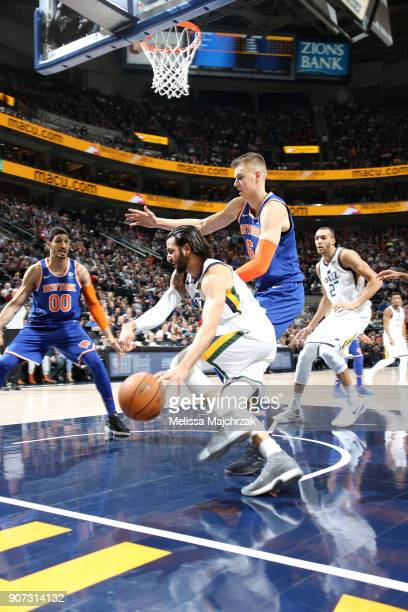 Ricky Rubio of the Utah Jazz drives to the basket against the New York Knicks on January 19 2018 at vivintSmartHome Arena in Salt Lake City Utah NOTE...