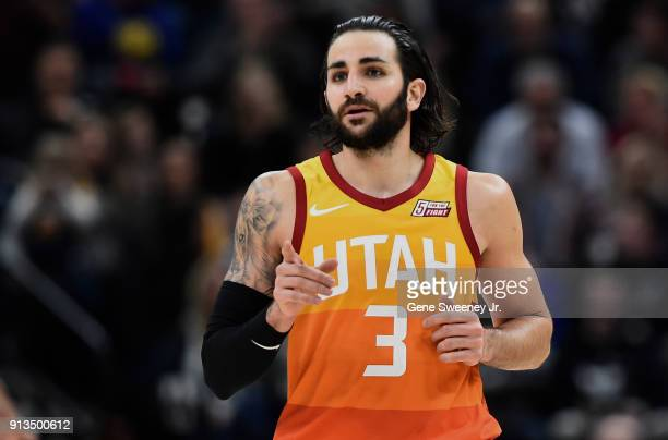 Ricky Rubio of the Utah Jazz gestures while running up court during a game against the Golden State Warriors at Vivint Smart Home Arena on January 30...