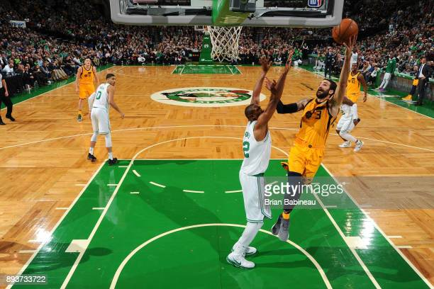 Ricky Rubio of the Utah Jazz goes for a lay up against the Boston Celtics on December 15 2017 at the TD Garden in Boston Massachusetts NOTE TO USER...