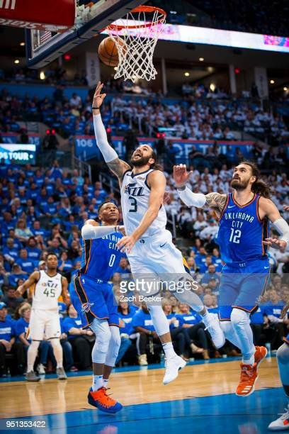 Ricky Rubio of the Utah Jazz goes to the basket against the Oklahoma City Thunder in Game Five of Round One of the 2018 NBA Playoffs on April 25 2018...