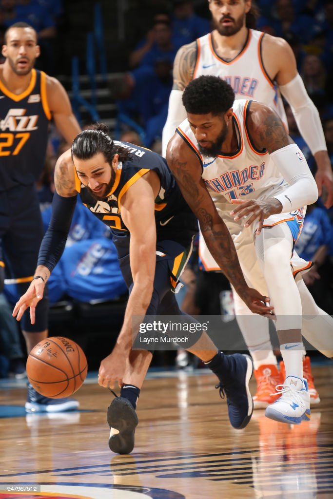 Ricky Rubio #3 of the Utah Jazz handles the ball against Paul George #13 of the Oklahoma City Thunder during Game One of Round One of the 2018 NBA Playoffs on April 15, 2018 at Chesapeake Energy Arena in Oklahoma City, Oklahoma.