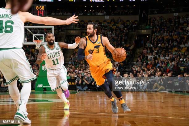 Ricky Rubio of the Utah Jazz handles the ball against the Boston Celtics on December 15 2017 at the TD Garden in Boston Massachusetts NOTE TO USER...