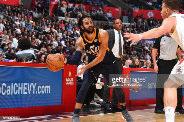 Ricky Rubio of the Utah Jazz handles the ball against the LA Clippers on October 24 2017 at STAPLES Center in Los Angeles California NOTE TO USER...