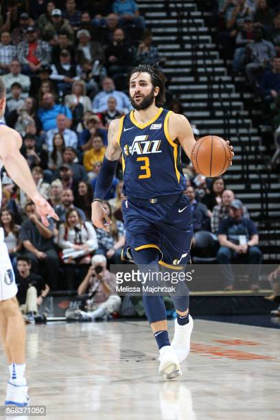 Ricky Rubio of the Utah Jazz handles the ball against the Dallas Mavericks on October 30 2017 at Vivint Smart Home Arena in Salt Lake City Utah NOTE...