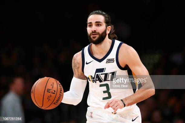Ricky Rubio of the Utah Jazz handles the ball against the Los Angeles Lakers on November 23 2018 at the STAPLES Center in Los Angeles California NOTE...