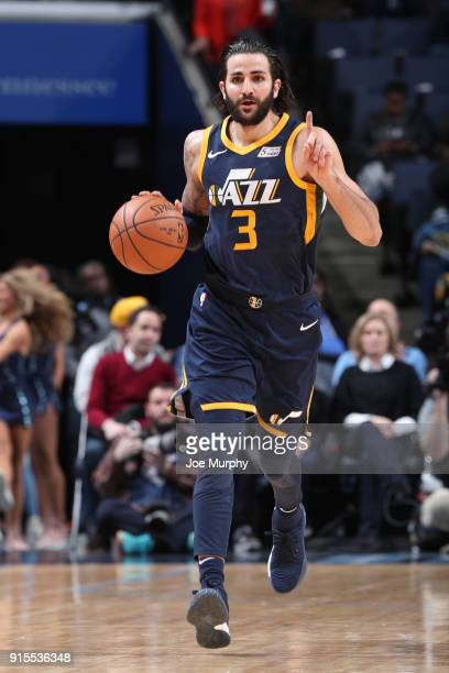 Ricky Rubio of the Utah Jazz handles the ball against the Memphis Grizzlies on February 7 2018 at FedExForum in Memphis Tennessee NOTE TO USER User...