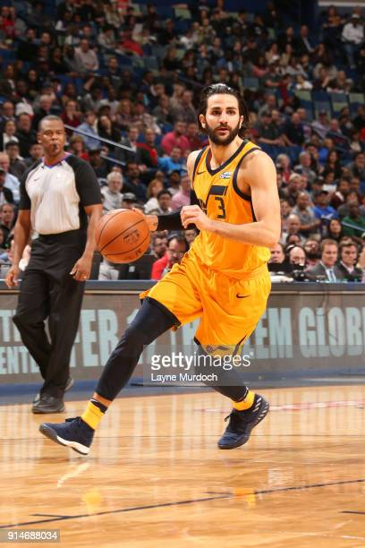 Ricky Rubio of the Utah Jazz handles the ball against the New Orleans Pelicans on February 5 2018 at Smoothie King Center in New Orleans Louisiana...
