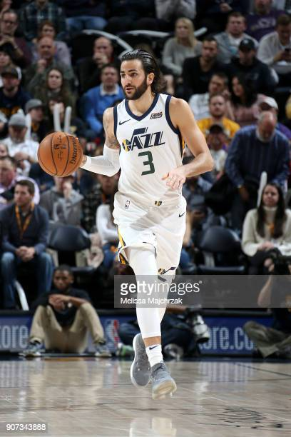 Ricky Rubio of the Utah Jazz handles the ball against the New York Knicks on January 19 2018 at vivintSmartHome Arena in Salt Lake City Utah NOTE TO...