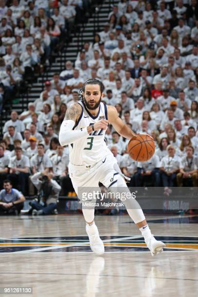 Ricky Rubio of the Utah Jazz handles the ball against the Oklahoma City Thunder in Game Four of Round One of the 2018 NBA Playoffs on April 23 2018...