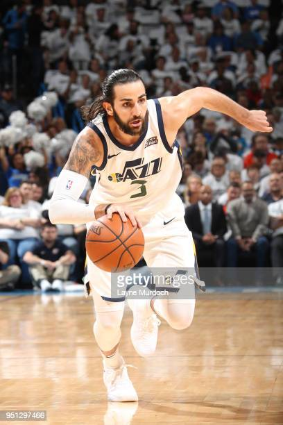 Ricky Rubio of the Utah Jazz handles the ball against the Oklahoma City Thunder in Game Five of Round One of the 2018 NBA Playoffs on April 25 2018...