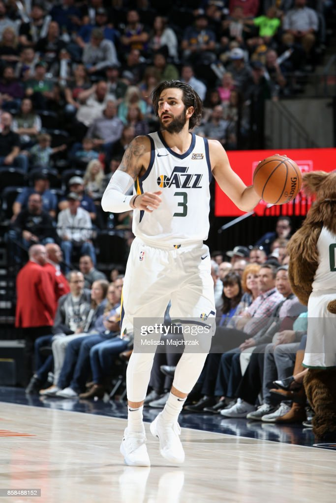 Ricky Rubio #3 of the Utah Jazz handles the ball against the Phoenix Suns on October 6, 2017 at vivint.SmartHome Arena in Salt Lake City, Utah.