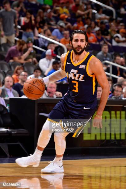 Ricky Rubio of the Utah Jazz handles the ball against the Phoenix Suns on October 9 2017 at Talking Stick Resort Arena in Phoenix Arizona NOTE TO...