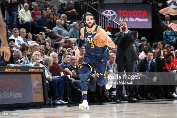 Ricky Rubio of the Utah Jazz handles the ball against the Portland Trail Blazers on November 1 2017 at vivintSmartHome Arena in Salt Lake City Utah...