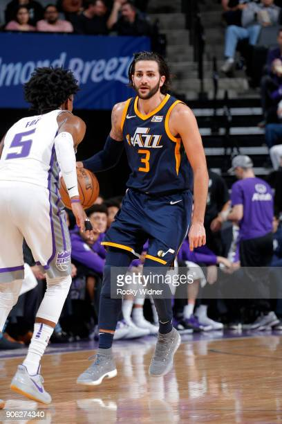 Ricky Rubio of the Utah Jazz handles the ball against the Sacramento Kings on January 17 2018 at Golden 1 Center in Sacramento California NOTE TO...