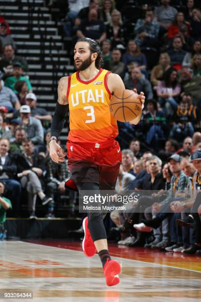 Ricky Rubio of the Utah Jazz handles the ball against the Sacramento Kings on March 17 2018 at vivintSmartHome Arena in Salt Lake City Utah NOTE TO...
