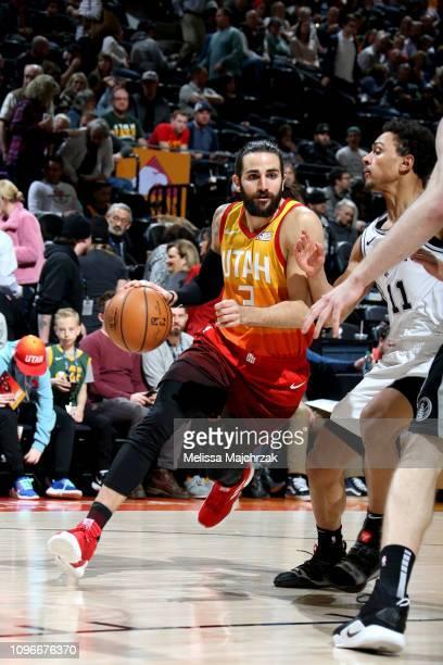 Ricky Rubio of the Utah Jazz handles the ball against the San Antonio Spurs on February 9 2019 at Vivint Smart Home Arena in Salt Lake City Utah NOTE...