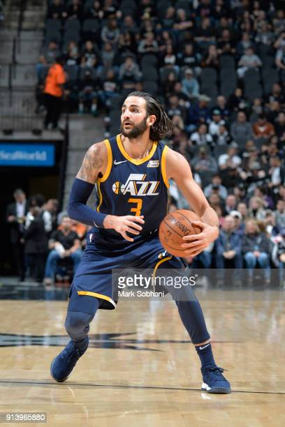 Ricky Rubio of the Utah Jazz handles the ball against the San Antonio Spurs on February 3 2018 at the ATT Center in San Antonio Texas NOTE TO USER...