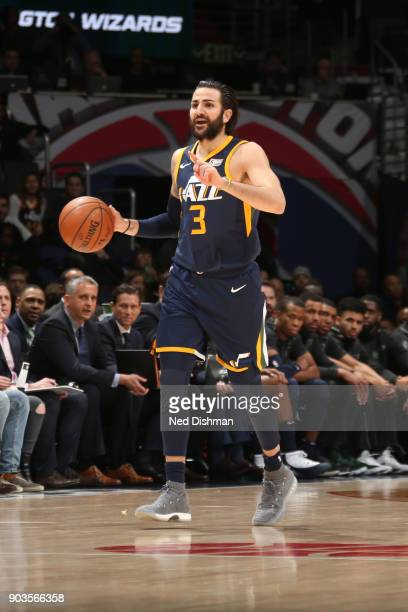 Ricky Rubio of the Utah Jazz handles the ball against the Washington Wizards on January 10 2018 at Capital One Arena in Washington DC NOTE TO USER...