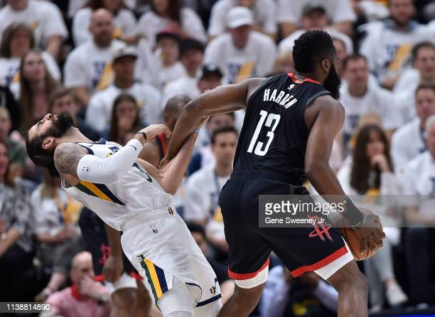 Ricky Rubio of the Utah Jazz is fouled by James Harden of the Houston Rockets in the first half of Game Four during the first round of the 2019 NBA...