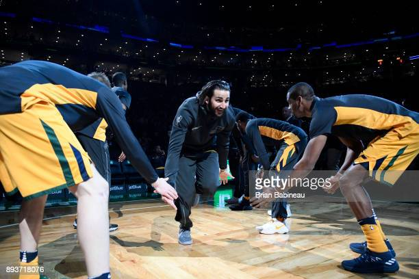Ricky Rubio of the Utah Jazz is introduced before the game against the Boston Celtics on December 15 2017 at the TD Garden in Boston Massachusetts...
