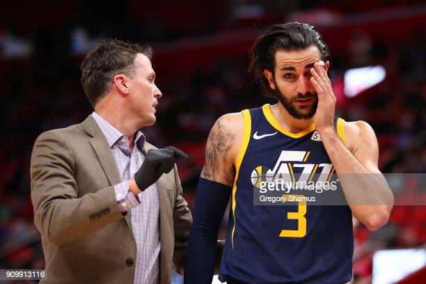 Ricky Rubio of the Utah Jazz leaves the floor in the second half with a cut over his left eye while playing the Detroit Pistons at Little Caesars...