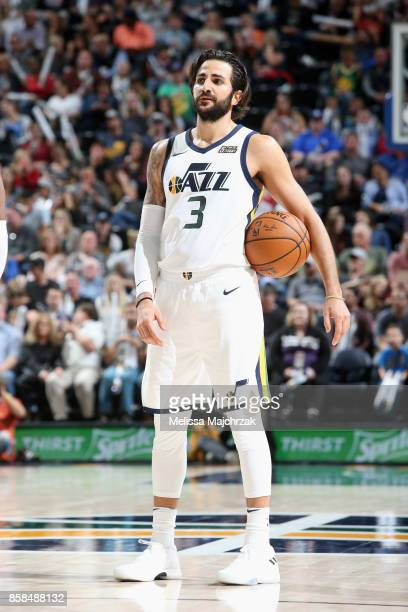 Ricky Rubio of the Utah Jazz looks on against the Phoenix Suns on October 6 2017 at vivintSmartHome Arena in Salt Lake City Utah NOTE TO USER User...